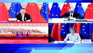 Chinese President Xi Jinping meets with President of the European Council Charles Michel and President of the European Commission Ursula von der Leyen via video link in Beijing, June 22, 2020