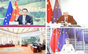 Combo photo shows Chinese Premier Li Keqiang holding the 22nd China-European Union leaders